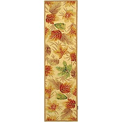 Hand-hooked Foliage Ivory Wool Runner (2'6 x 10')