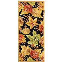 Hand-hooked Foliage Black Wool Runner (2'6 x 6')