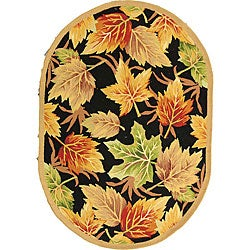Safavieh Hand-hooked Foliage Black Wool Rug (4'6 x 6'6 Oval)