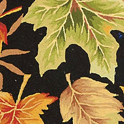 Hand-hooked Foliage Black Wool Rug (5'6 Round)