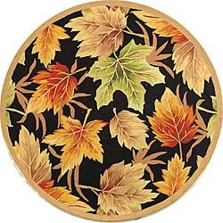 Hand-hooked Foliage Black Wool Rug (8' Round)