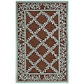 Hand-hooked Trellis Brown/ Turquoise Blue Wool Runner (2'6 x 4')