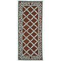 Hand-hooked Trellis Brown/ Turquoise Blue Wool Runner (2'6 x 6')