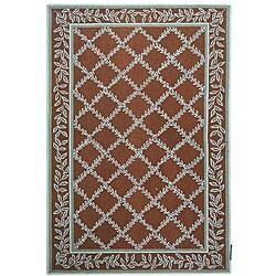 Safavieh Hand-hooked Trellis Brown/ Turquoise Blue Wool Rug (7'9 x 9'9)