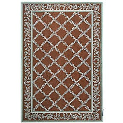 Hand-hooked Trellis Brown/ Turquoise Blue Wool Rug (8'9 x 11'9)