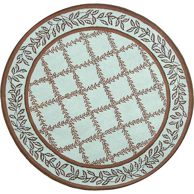 Safavieh Hand-hooked Trellis Turquoise Blue/ Brown Wool Rug (4' Round)