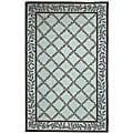 Safavieh Hand-hooked Trellis Turquoise Blue/ Brown Wool Rug (5'3 x 8'3)