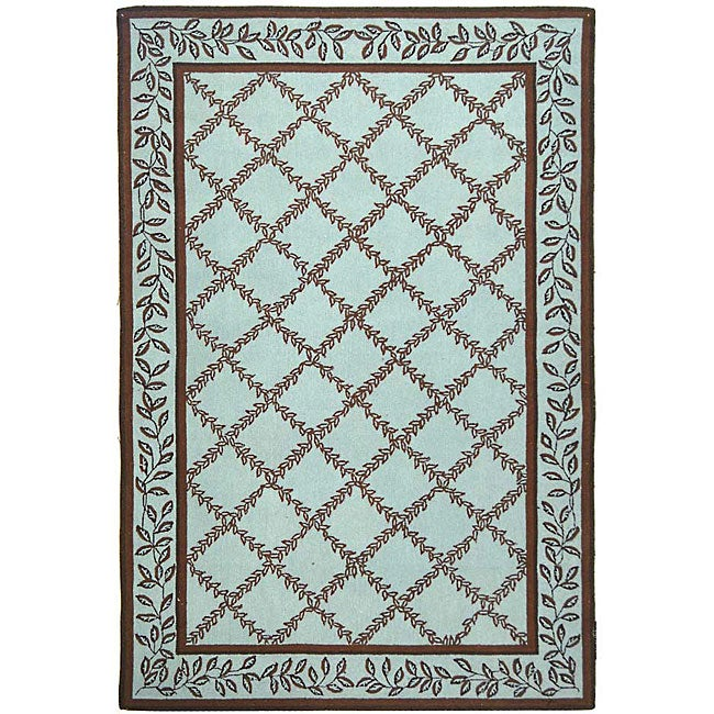Turquoise And Brown Rug: Safavieh Hand-hooked Trellis Turquoise Blue/ Brown Wool