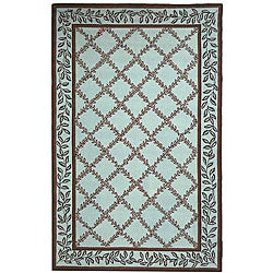 Hand-hooked Trellis Turquoise Blue/ Brown Wool Rug (7'9 x 9'9)