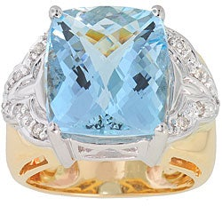 Michael Valitutti 14k Gold Aquamarine and Diamond Ring