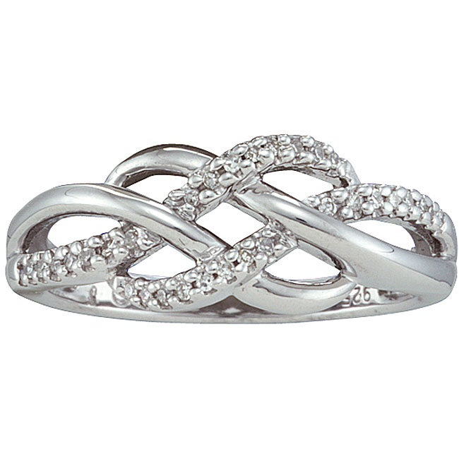 Unending Love Sterling Silver 1/10ct TDW Diamond Infinity Fashion Ring