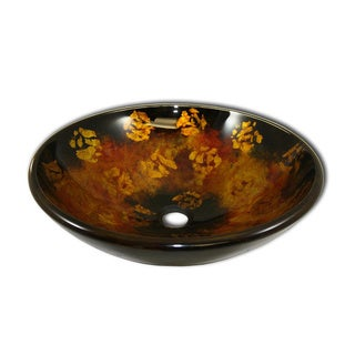 Intelligentsia Tempered Glass Bathroom Gold Foil Vessel Sink