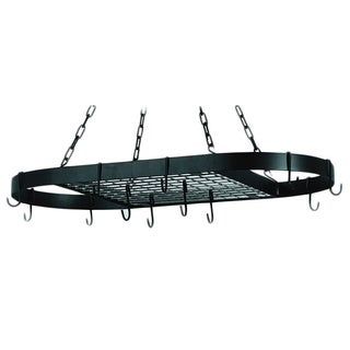 Oval Matte Black 12-hook Grid Hanging Pot Rack