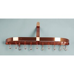 Steel Wall-mounted Pot Rack with 12 Hooks and Grid