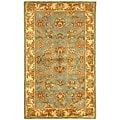 Handmade Heritage Kermansha Blue/ Beige Wool Rug (3' x 5')