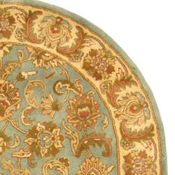 Safavieh Handmade Heritage Kermansha Blue/ Beige Wool Rug (7'6 x 9'6 Oval)