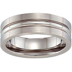 Unisex 7 mm Titanium Grooved Band