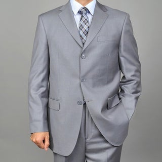 Men's 3-button Solid Grey Suit