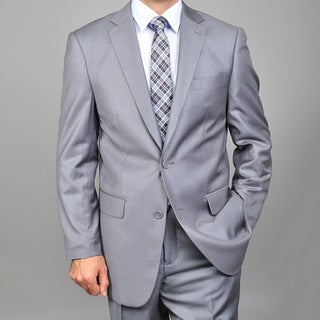 Men's Solid Grey 2-button Suit