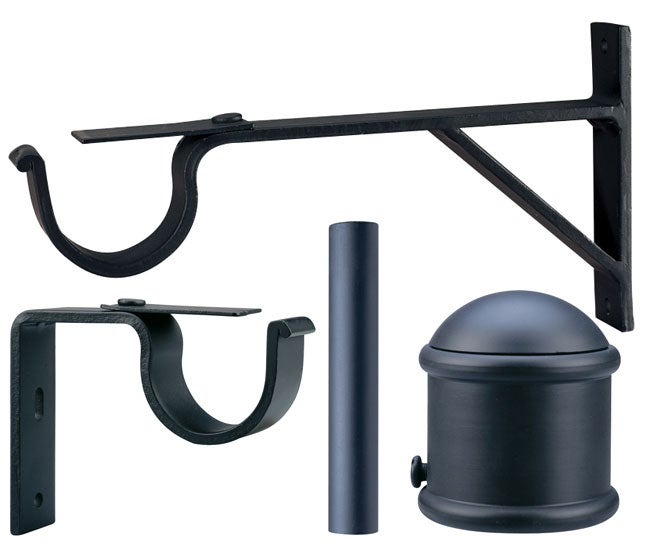 Iron 4-foot Black Drapery Rod Set with End Cap Finials