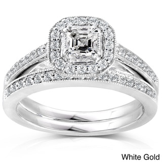 Annello 14k Gold 5/8ct TDW Asscher Diamond Bridal Halo Ring Set (H-I, SI1-SI2)
