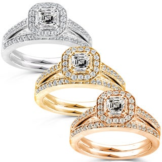 Annello 14k Gold 5/8ct TDW Asscher Diamond Bridal Halo Ring Set (H-I, SI1-SI2) with Bonus Item