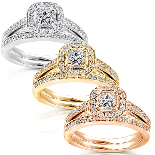 Annello 14k Gold 5/8ct TDW Princess Diamond Halo Bridal Ring Set