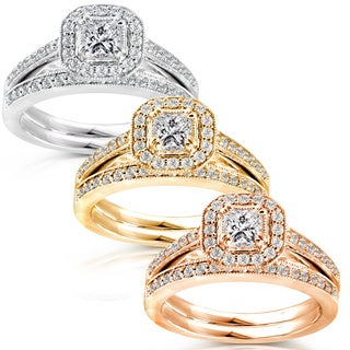 Annello 14k Gold 5/8ct TDW Princess Diamond Halo Bridal Ring Set with Bonus Item