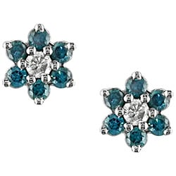 Miadora 10k Gold 1/4ct TDW Blue and White Diamond Earrings