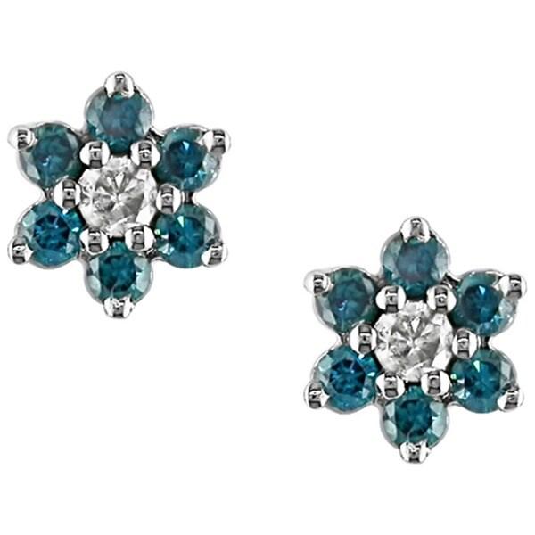 Miadora 10k Gold 1/4ct TDW Blue and White Diamond Earrings