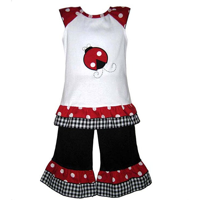 AnnLoren Girls Lady Bug 2-piece Capri Outfit