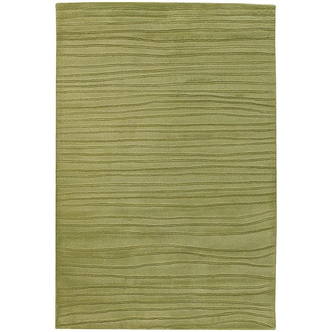 Hand-Tufted Mandara Spring-Green Wool Rug (7'9 x 10'6)