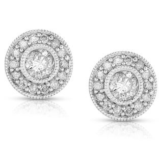 Eloquence 14k White Gold 1ct TDW Diamond Halo Earrings (H-I, I2)