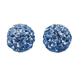 14k Gold Light Blue Crystal Ball Earrings