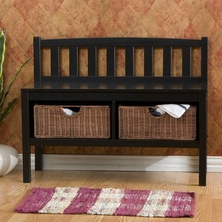 Beacon Black Bench with Rattan Baskets