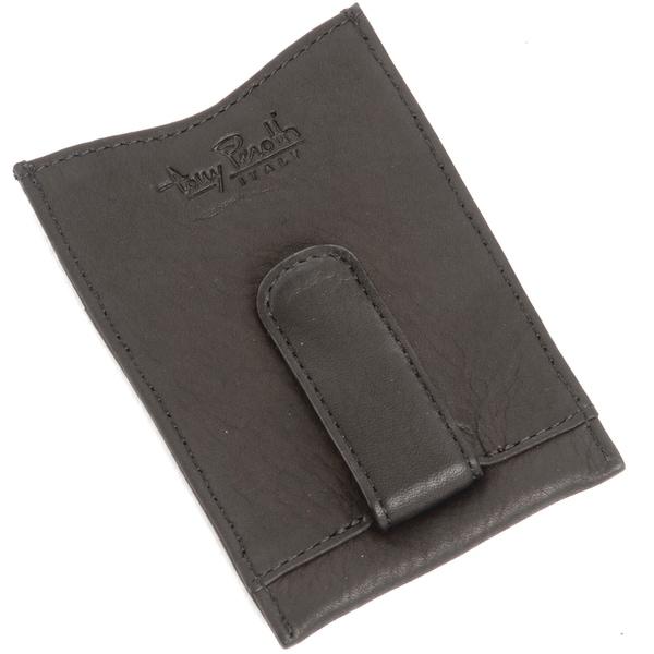 Tony Perotti Executive Black Leather Money Clip with Three Slots