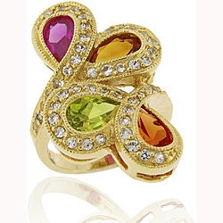 Glitzy Rocks 18k Gold/ Sterling Silver Created Sapphire Ring