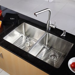 Kraus 33-inch Undermount Double Bowl Stainless Steel Kitchen Sink