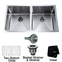 Kraus 33-inch Undermount Double Bowl Steel Kitchen Sink