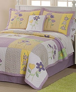 Patch Of Flowers 3 Piece Quilt Set 11798460 Overstock