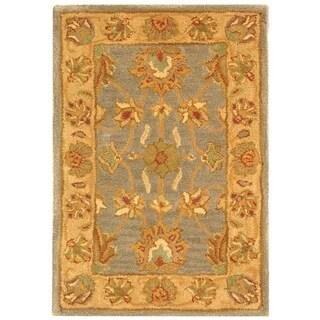 Safavieh Handmade Heritage Kerman Blue/ Beige Wool Rug (2' x 3')