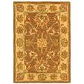 Safavieh Handmade Heritage Kerman Brown/ Ivory Wool Rug (2' x 3')