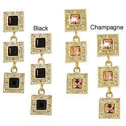 Goldtone Crystal Triple Square Drop Earrings