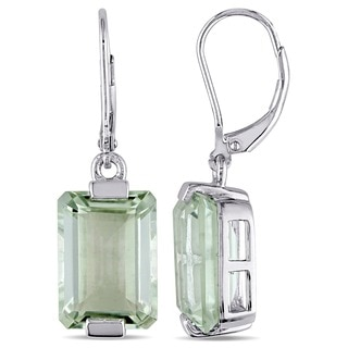 Miadora Sterling Silver Green Amethyst Leverback Earrings