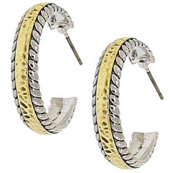 Two-tone Metal Designer-inspired Half-hoop Earrings