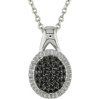 Haylee Jewels Sterling Silver 1/3ct TDW Black Diamond Necklace