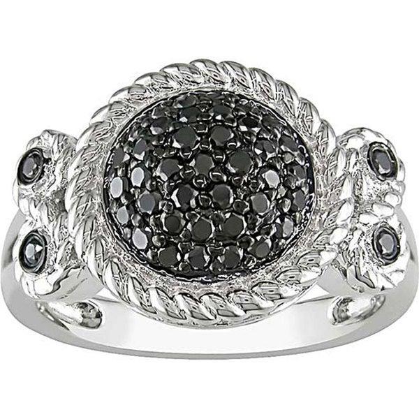 Haylee Jewels Sterling Silver 1/2Ct TDW Bezel-set Black Diamond Ring