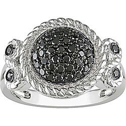 Miadora Sterling Silver 1/2Ct TDW Bezel-set Black Diamond Ring