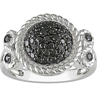 M by Miadora Sterling Silver 1/2Ct TDW Bezel-set Black Diamond Ring
