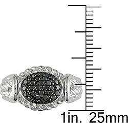 M by Miadora Sterling Silver 1/3ct TDW Black Diamond Ring